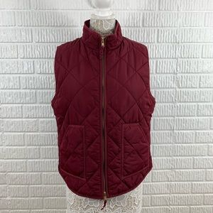J. Crew Factory Puffer Quilted Vest Maroon XL